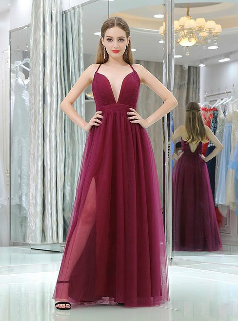 Burgundy Pasta Strap Tulle Back Cross Floor Length Prom Dress