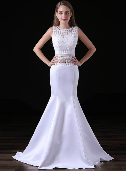 White Mermaid Two Piece White Satin Lace Prom Dress