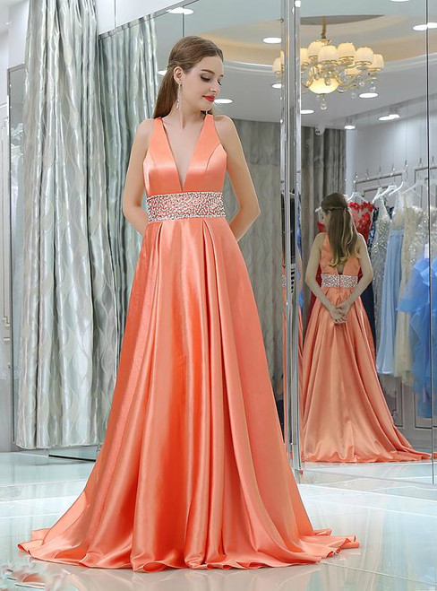 A-line V-neck Orange Satin Backless With Beading Prom Dress