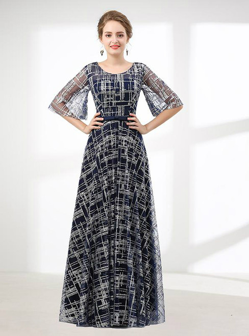 Blue Bling Bling Sequins Backless Floor Length Prom Dress