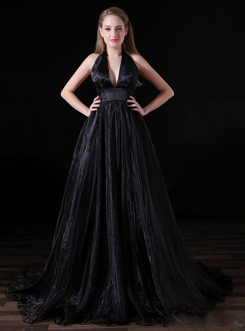 Black Halter Deep V neck Backless Tulle Floro Length Prom Dress