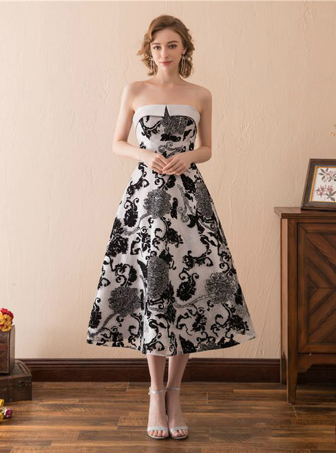 Tea Length Strapless Print Cocktail Tea Length Prom Dress