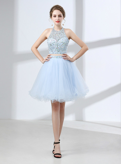 Blue Two Piece Halter Backless Tulle Beading Cocktail Dress