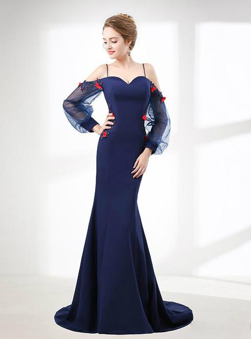 Blue Mermaid Satin Strap Backless Long Sleeve Prom Dress