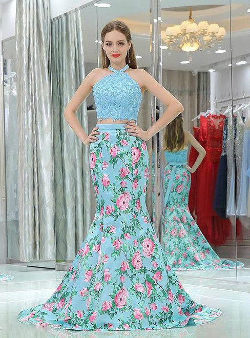 Mermaid Light Blue Two Piece Halter  Satin Lace Prom Dress