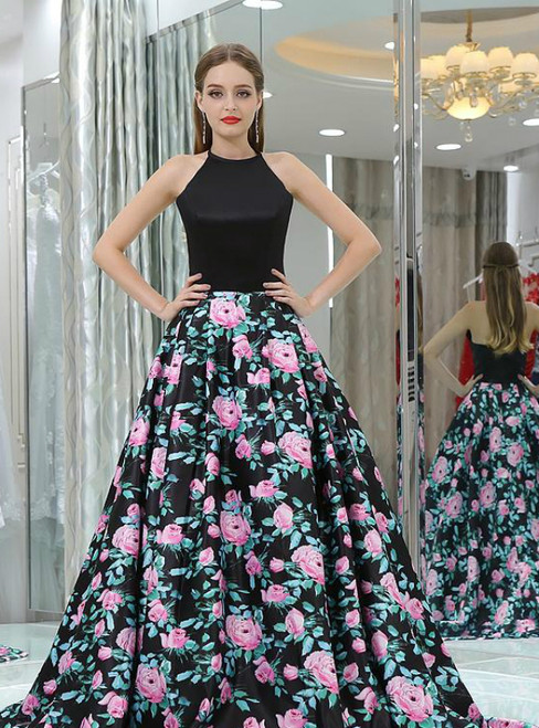 Black Print Halter Backless Satin Floor Length Prom Dress