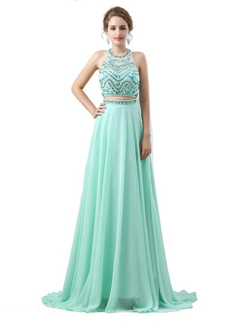 Green Halter Two Piece Backless Chiffon Floor Length Prom Dress