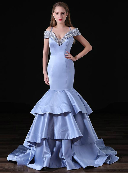 Blue Mermaid Satin Word Shoulder Prom Dress With Beading