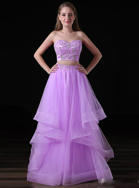 Purple Two Piece Sweetheart Neck Tulle With Beading Prom Dress