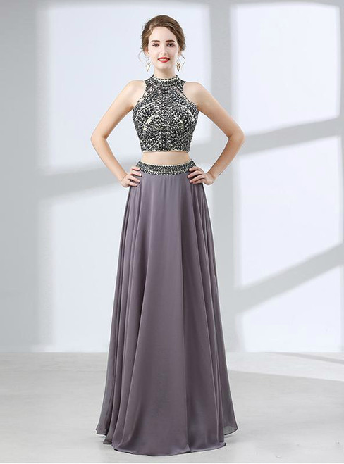 Gray Two Piece High Neck Chiffon Backless Floor Length Prom Dress