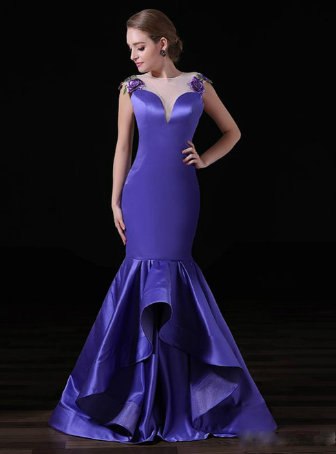 Purple Satin Mermaid Applique Lace Sexy See Through Back Prom Dress