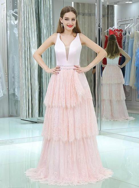 Sweet Pink Lace Satin Deep V-neck Floor Length Prom Dress