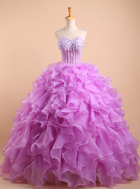 Purple Sweetheart Ball Gown Applique Top Beaded Backless Long Quinceanera Dresses