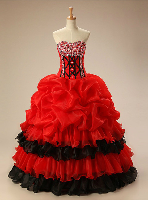 Red Ball Gown Sweetheart Sequins Quinceanera Dresses