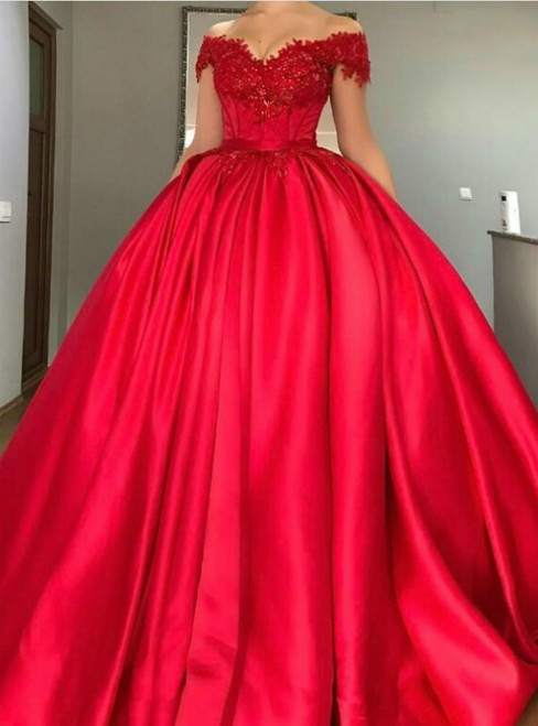 Red Satin Off The Shoulder Appliques Quinceanera Dresses