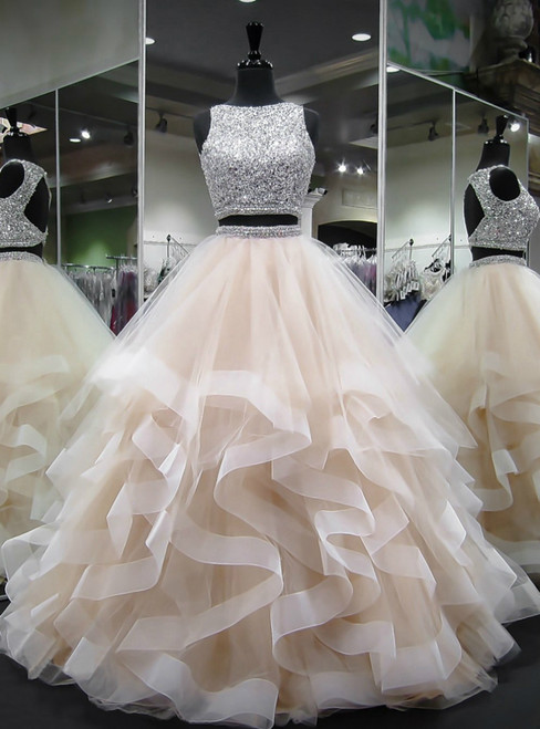 Sparkling Beaded Two Piece Layered Pleated Quinceanera Dresses