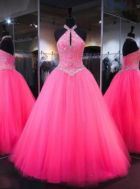 Pink Sweet 16 Dress Crystal Tulle Halter Quinceanera Dresses