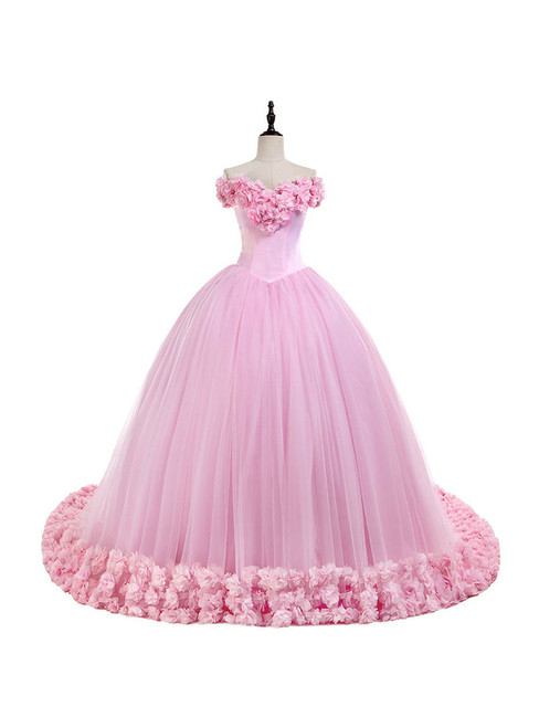 Off the Shoulder Sweet 16 Dress Pink 3D Flowers Tulle Quinceanera Dresses 875e13f8f