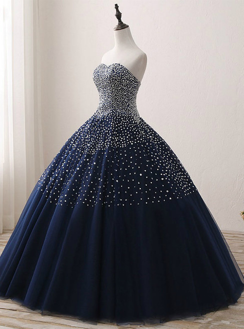 Navy Blue Crystals Tulle Beaded Sweetheart Ball Gown Quinceanera Dresses