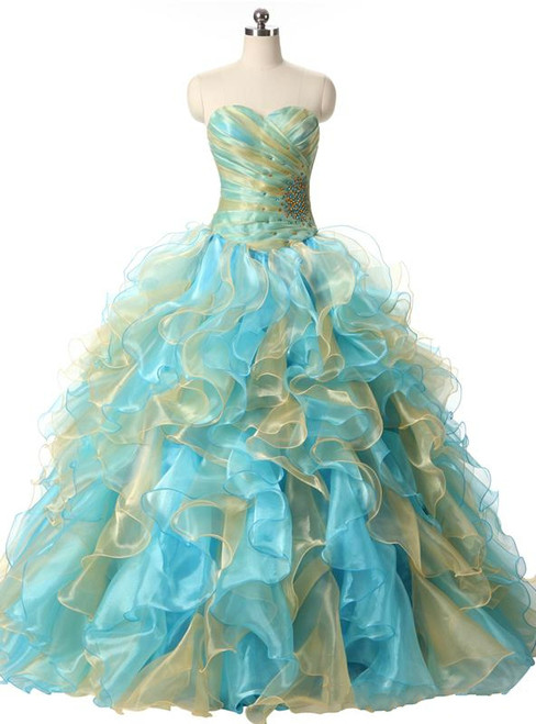 Rhinestones Ball Gown Sweetheart Organza Ruffles Quinceanera Dresses