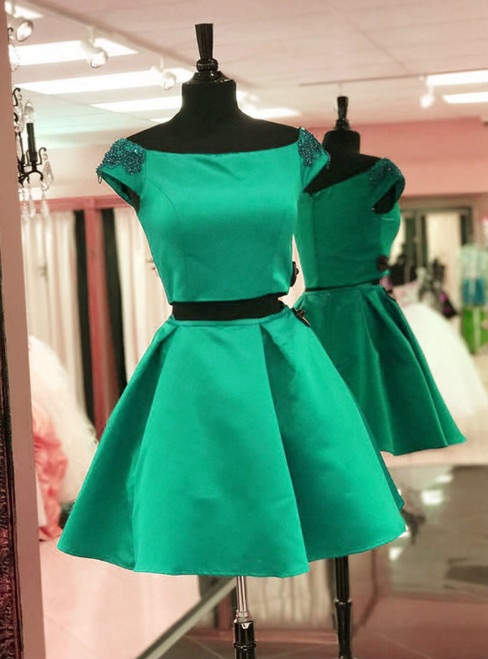 Two Piece Satin Cap Sleeves Homecoming Dress With Beading