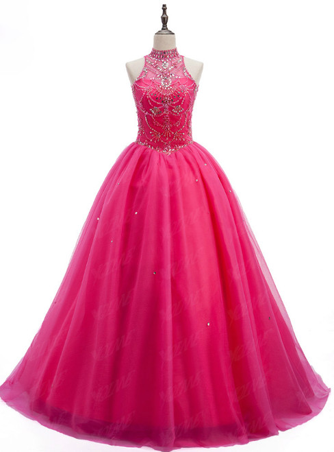Crystals Sweet 16 Dress Ball Gowns Halter Tulle Quinceanera Gown Dresses