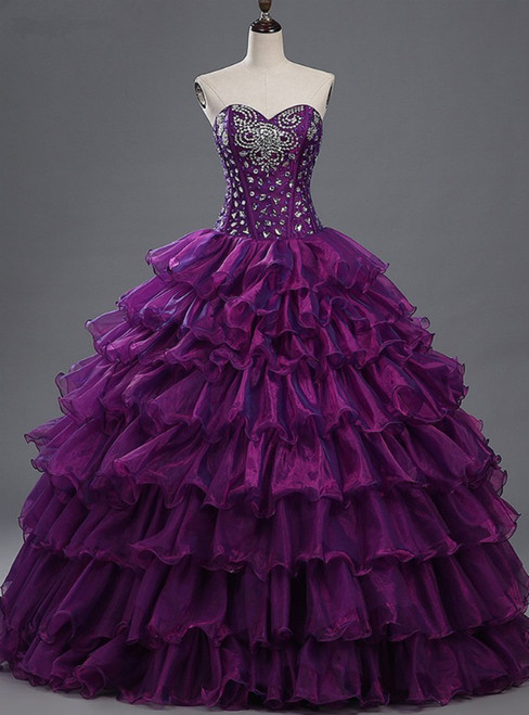 Purple Sweetheart Crystals Organza Ball Gown Quinceanera Dresses
