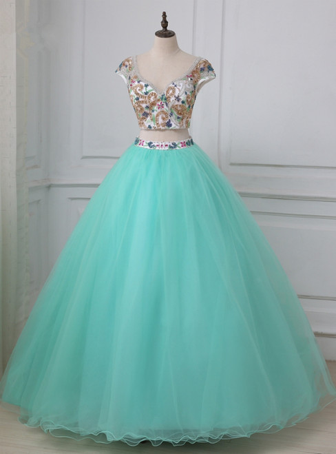 Blue Two Piece Tulle Backless Cap Sleeve Quinceanera Dress