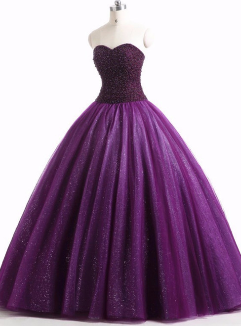Purple Ball Gown Tulle Sweetheart Beading Quinceanera Dresses