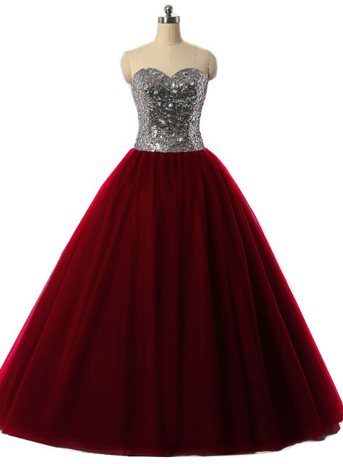 Burgundy Ball Gown Sweetheart Tulle Sequins Quinceanera Dresses