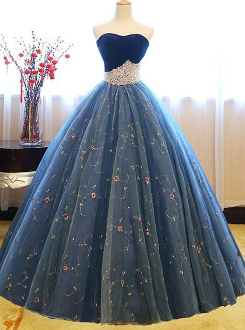 Blue Ball Gown Tulle Floor Length Strapless Princess Quinceanera Dresses