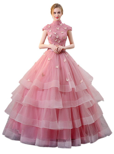 In Stock:Ship in 48 hours Ready To Ship Pink High Neck Quinceanera Dresses