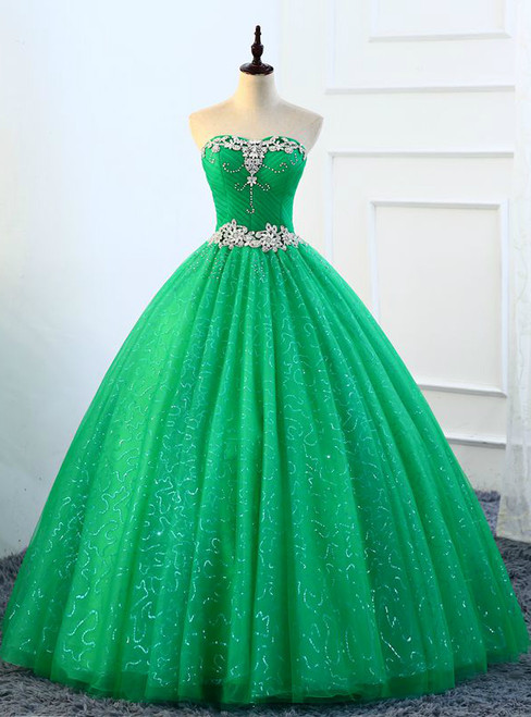 Ball Gown Green Tulle Sweetheart Crystal Quinceanera Dresses