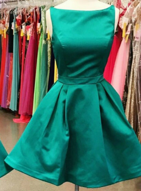 A-Line Green Satin Backless Simple Homecoming Dress