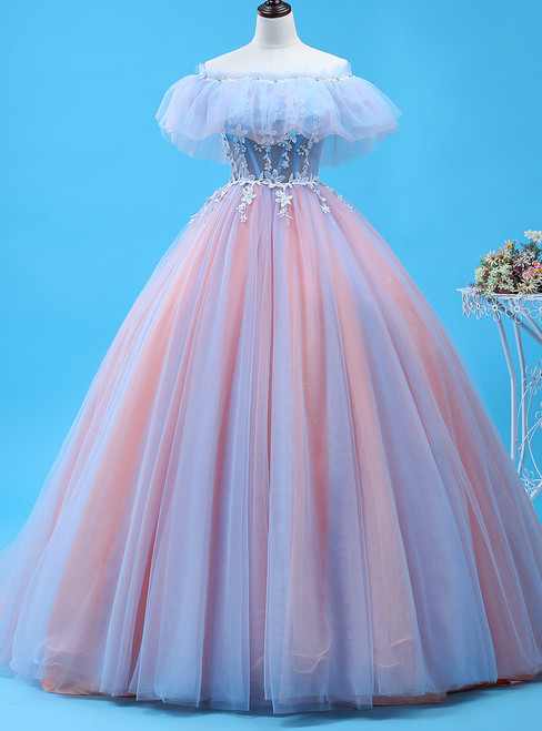 Ball Gown Pink Tulle Off The Shoulder Prom Dress