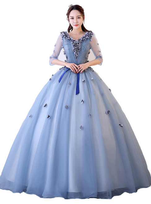 In Stock:Ship in 48 hours Ready To Ship Blue Tulle Long Sleeve Dress