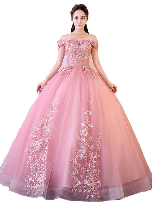 In Stock:Ship in 48 hours Ready To Ship Pink Ball Gown Off The Shoulder Dress