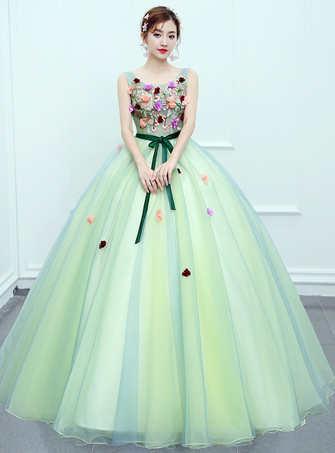 In Stock:Ship in 48 hours Ready To Ship Green Tulle Quinceanera Dresses