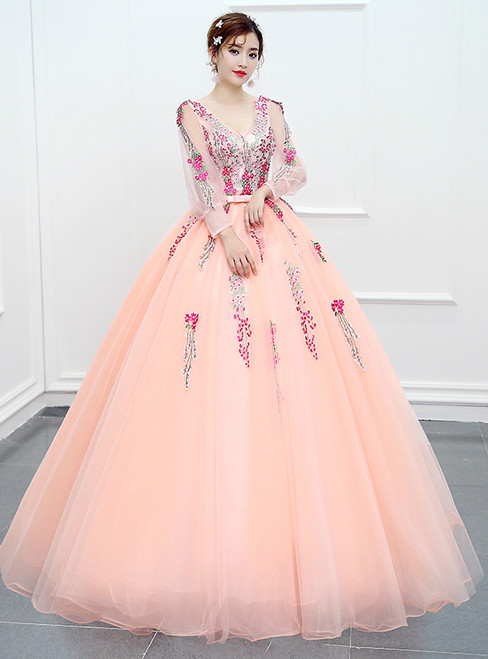 In Stock:Ship in 48 hours Ready To Ship Pink Print Long Sleeve Dress