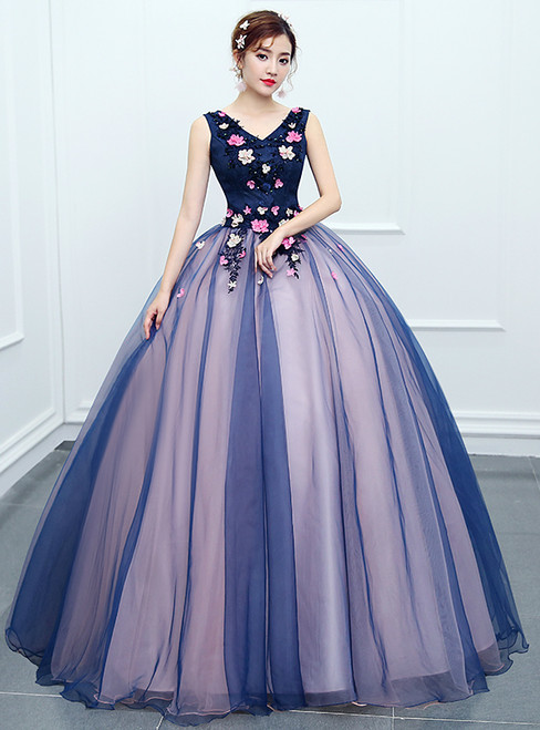 In Stock:Ship in 48 hours Ready To Ship Blue V-neck Quinceanera Dresses