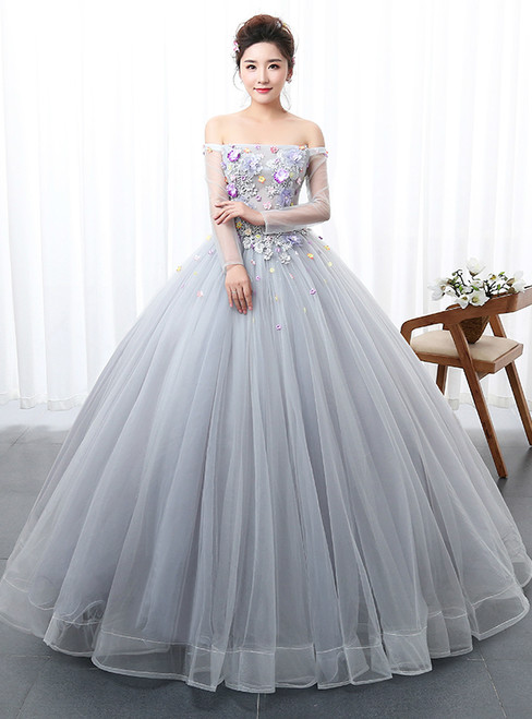 In Stock:Ship in 48 hours Ready To Ship Gray Off The Shoulder Quinceanera Dresses