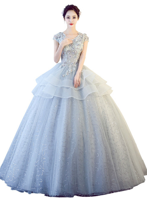 In Stock:Ship in 48 hours Ready To Ship Gray Sequins Tulle Dress