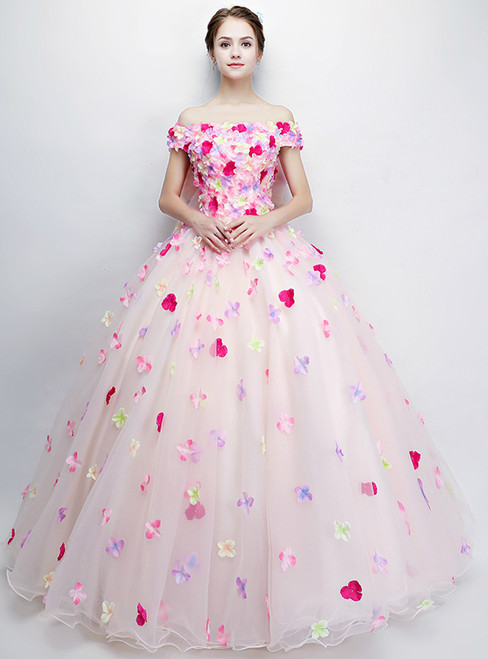 In Stock:Ship in 48 hours Ready To Ship Off The Shoulder Flower Quinceanera Dresses