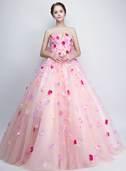 In Stock:Ship in 48 hours Ready To Ship Strapless Pink Tulle Quinceanera Dresses