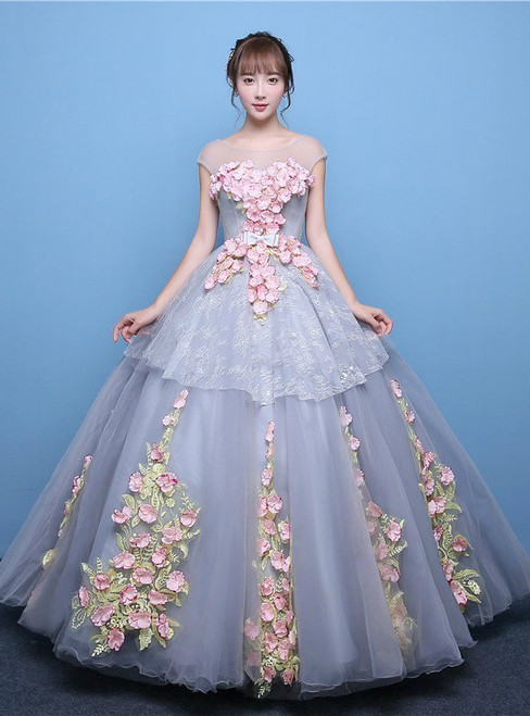 In Stock:Ship in 48 hours Ready To Ship Blue Tulle Appliques Quinceanera Dresses