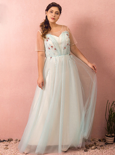 Plus Size A-Line Blue Tulle Short Sleeve Prom Dress