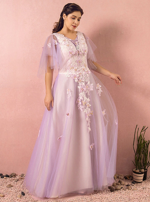 Plus Size Purple Tulle With Butterfly Backless Prom Dress