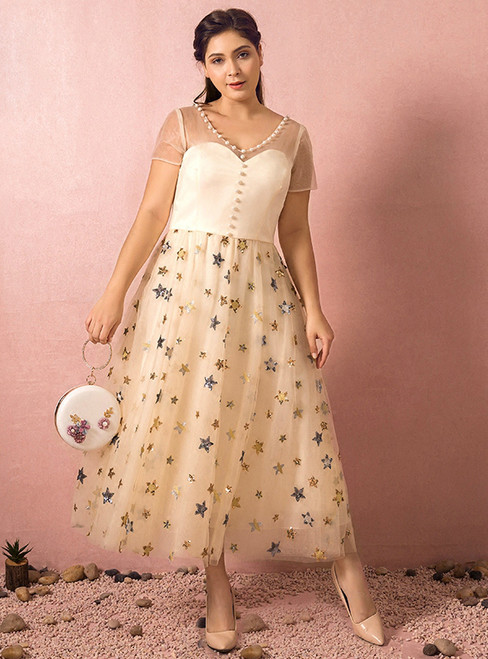 Plus Size Yellow Tea Length Tulle Short Sleeve Prom Dress