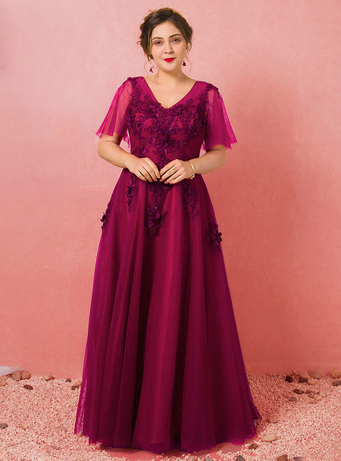 Plus Size Burgundy V-neck Tulle Appliques Prom Dress