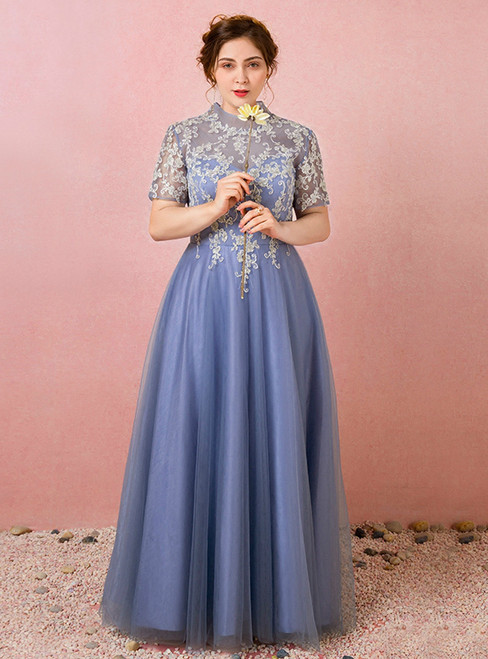 Plus Size High Neck Tulle Lace Short Sleeve Prom Dress